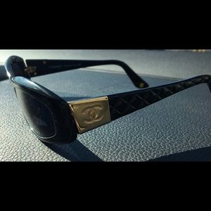 Channel black sunglasses with gold accents